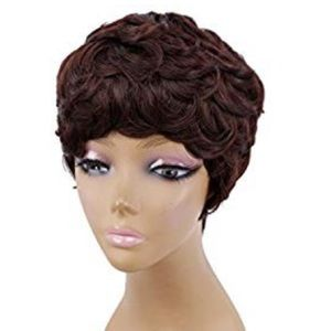 Short Brown Curly Pixie Synthetic Short Cut Wig